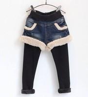 children's clothing wholesale Korean manufacturers selling girls plus velvet false two denim Leggings