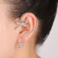 Personality women fashion earring clip rhinestone gold&silver crystal bow clip earring ear cuff female all match jewelry