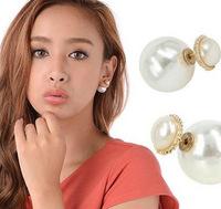 Brand design star fashion earring double pearl newest stud earring elegant style for women