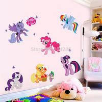My Little Pony Wall Sticker Kids' Room Cartoon wall Decor DIY Girls' Room Wall Decal 50*70cm 2pcs/lot Free Shipping