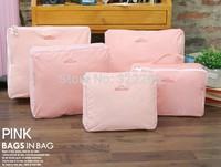 5pcs/set Waterproof travel organizer wash bag lingerie underwear storage case free shipping!!
