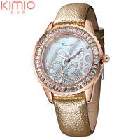 relojes de marca 2014 Gear Round Rose Gold Case Watches Genuine Crystal Butterfly Sport Wrist Watch