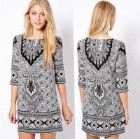 2014 Hitz wild pattern desigual vestido de festa totem Slim Sleeve Dress summer dress 2014 Dresses Chiffon Dress