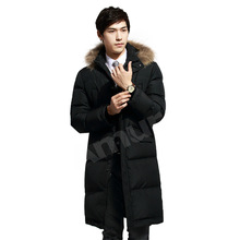 Amur Men Winter Coat 80%White Duck Down Thick Warm Long Parkas Trench coat Cotton Jackets fur collar