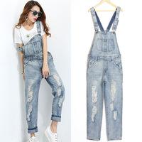 free shipping HOT New Fashion women's overalls trousers,Plus sizes denim suspenders pants jumpsuit denim jeans overalls women