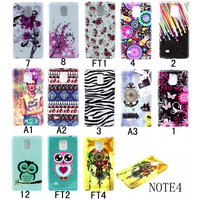 10Pcs Soft Painting Flower Owl Butterfly case cover for Samsung Galaxy Note 4