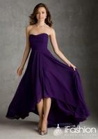 Romantic bridesmaid dresses high low strapless vestido de madrinha longo 2014 bm7
