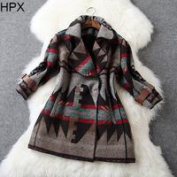Women Retro Vintage Wool Turn-down Collar Loose Thickning Coat,Ladies Brand Overcoat 2014 Autumn Winter New European Style O016