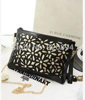 European and American fashion cute hollow diamond flower  holding the purse handbag evening bag lady wallet chain shoulder bag
