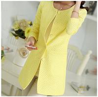 Candy Colors Fashion Slim Fit O-neck Single Breasted Blazer OL Women Long Jacket Coat Elegant  Female Autumn Clothing Hot Sale
