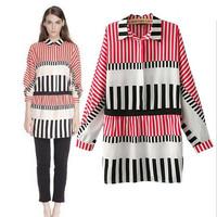 2015 Trendy Women Red Vertical Striped&Piano Keys Print Long Shirts Women Causal Elegant Fashion Shirts Spring Summer Blouses