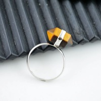 Finding - Tiger's Eye Stone Healing Chakra Adjustable Finger Ring Jewelry 8pcs