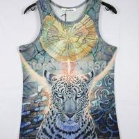 NEW!!! Fashion 3D leopard printing Bisexual Vest Singlet Underwear Tank Top Fun T-shirt 4 Sizes