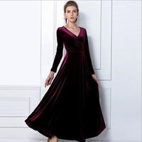 2015 Velvet Warm Plus size Winter Ankle-Length Dress Women Slim Vintage Maxi Casual Dress Tunics Solid Fashion Females vestidos