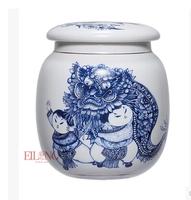Tea set tea caddy blue and white ceramic sealed can procelain Kung Fu tea tools tableware tea service jar