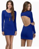 sweetheart dresses women's backless sexy dress club wear knitting dress sexy mini sleeved blue dress
