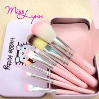 (7 pcs/set ) Sweet Pink Hello Kitty Cosmetic Brush Set Makeup Brushes Set Cartoon brushes  tin packing