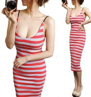 2014 spring  summer new women Dress Sexy Slim waist striped dress