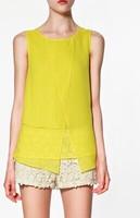 Candy color fashion women's Blouse patchwork chiffon sleeveless shirt  XS-2XL