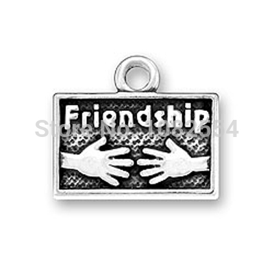 free shipping fashion zinc alloy picture with letters Friendship with two hands DIY pendants or charms jewelry(China (Mainland))