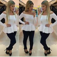 Women Women's T-shirt Strapless lotus leaf hem Slim waist Slash neck shirt long sleeve t shirt