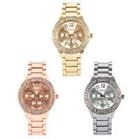 New Geneva Luxury Steel Gold Sliver Rhinestone Crystal Women Quartz Wrist Watch
