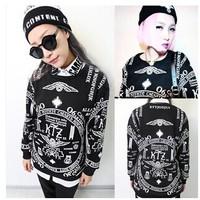 Totem Printing Hoodies Personalized Streetwear Classic Black Loose Pullovers