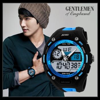 2015 мужчины военные часы спортивные часы 2 часовой пояс цифровой кварц хронограф силикона студня плавать часы погружения, г шок 1015