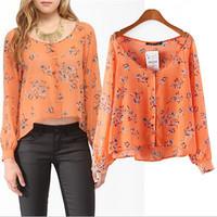 2015 Trendy Women Floral Print Asymmetric Length Shirts Women Sexy V-Neck Slim Crop Top Casual Party Shirt Spring Summer Blouses
