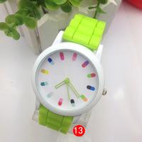 Hot sale New Fashion Designer Geneva Ladies sports brand silicone watch jelly watch 15 colors quartz watch for women