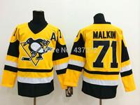 Stitched Free Shipping men's Hockey Jersey Pittsburgh Penguins # 71 Evgeni Malkin Hockey Jersey Embroidery Logos Jersey