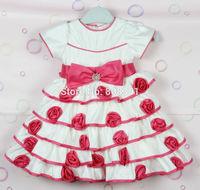 Free shipping, girl's princess dress, kids dress tutu , girl banquet dress, baby roses puff ,Birthday dress