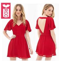 Drop ship!new 2015 brand High quality chiffon sexy Red backless Lotus leaf sleeve dress V-neck slim waist dress