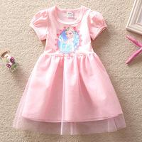 New 2014 Frozen Elsa Dress Girl Princess Dress Frozen Summer Short Sleeve Dress Elsa Costume,Baby Girls Dresses Free Shipping