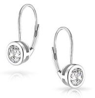 Luxury Earrings Package Inserts Single Grain Round  Swiss Cubic Zircon Earrings 18k White Gold Plated Hoop Earrings