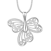 Promotion!free shipping wholesale Silver plated necklace,silver fashion jewelry buttfly 3 wing Necklace SMTN688