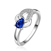 NEW Arrivel 2014 USA EURO Style Fashion Silver plated blue stone wish Ring Wholesale Jewelry SMTR651