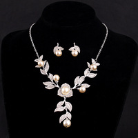 Beautiful bridal pearl necklace set crystal bridal jewelry frontlet dual female jewelry party