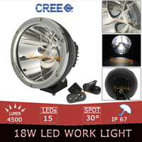 Chrome Reflector CREE 45W LED Work Light Spot Beam Offroad Car Auto 4x4 ATV 4WD Trailer Driving Headlamp+Mount Spotlight Bracket