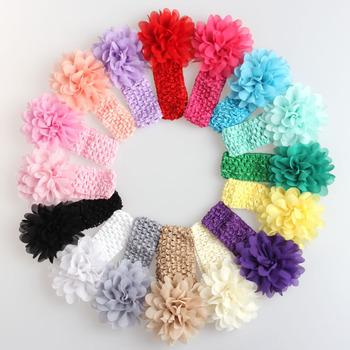 Новый новорожденных девочек кружева повязка на голову шифон цветок повязка на голову ...
