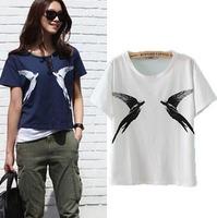 2015 European Style Casual Women T-shirt  Short Sleeve O-neck Birds Print Cotton Summer Shirt Famous Brand Tops Blouse CL2183
