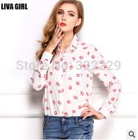 2015 European and American women's large size loose long-sleeved shirt collar shirt primer shirt printed chiffon shirt lips