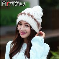 2pcs/Lot 2014 new Korean Women Tweed Caps Winter Fashion Hats Woolen Yarn Thick Hand Hook Weaving Multi-Color Free Shipping