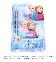 New Hot   practical  Color Notepad Wooden Pencil Eraser Pencil Sharpener Students Learning Stationery Set