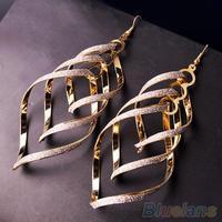 Women's Vintage Alloy Dull Polish Spiral Multi-layer Big Cross Drop Dangle Eardrop Earrings
