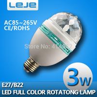 3W RGB LED Mini Party Light E27B22 Dance Party Lamp Auto Rotating Full color Led Bulb RGB LED Rotating Stage Light Free Shipping