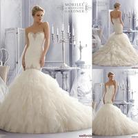 2015 Vestido De Noiva Sweetheart Mermaid Wedding Dresses With Crystal Beading Ruffles Bridal Dress Romantico