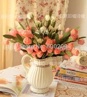 Free shipping,10pcs lot 6 Flower head Simulation flower Silk Head Artificial Flowers Wedding party Flower Home Decor- No Basket
