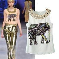 2015 European Style Casual Sleeveless Women T-shirt O-neck Chiffon Beading Women Summer Shirt Famous Brand Tops Blouse CL2187