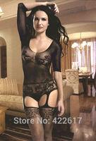 2014 new fashion women Sexy lingerie Open crotch Short sleeve pattern XS-L black bodystockings net No panties
